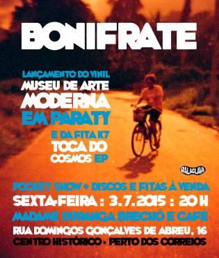 Poster de Bonifrate sobre foto de Thalita Aguiar